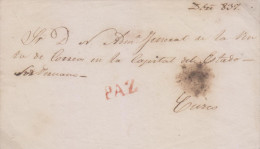 G)1837 PERU, PAZ RED CANCELATION, CIRCULATED FRONT COVER TO CUZCO, XF - Peru