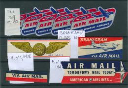 USA étiquettes PAR AVION Neuves - Kommerzielle Luftfahrt