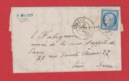 Lettre   De Vernon  --  Pour Paris  --   31 Mai 1872 - Marcophilie (Lettres)