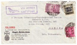 Brasilien Rio 30.3.1932 Luftpost Brief Der Firma Bayer Chimical Nach Recife Pernambuco - Posta Aerea