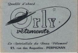 PERPIGNAN CARTE DE VISITE ANCIENNE PUBLICITAIRE DES VETEMENTS ORLY 23 RUE DES AUGUSTINS - Visiting Cards