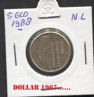 KM 210 - NETHERLANDS-Pays-Bas- Nederland *    5  Gulden  1988 - [ 3] 1815-… : Kingdom Of The Netherlands