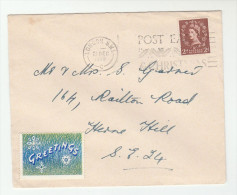1959 GB Stamps COVER SLOGAN Pmk London SW1 POST EARLY For CHRISTMAS With CHRISTMAS GREETING LABEL - Christmas