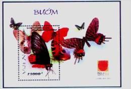 Vietnam Viet Nam MNH Perf Withdrawn Souvenir Sheet 2001 : Butterfly (Ms868B) - Vietnam