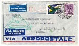 Brasilien Porto Allegre 6.9.1933 Vignette Condor-Zeppelin 6. Südamerikafahrt Brief Nach Zürich - Luftpost