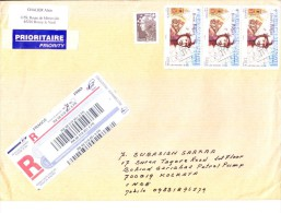 FRANCE 2011 REGISTERED AIR MAIL COVER - POSTED FROM ROZOY LE VIEIL FOR INDIA, USE OF ADDITIONAL STAMPS - France