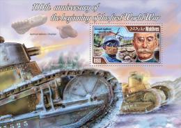 mld14408b Maldives 2014 World War I WW1 Zeppeline s/s