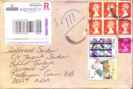 GREAT BRITAIN 2013 REGISTERED AIRMAIL COVER - POSTED FOR INDIA - USE OF COMMEMORATIVE STAMPS - Covers & Documents