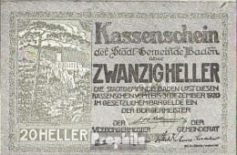Baden Bei Wien Notgeld Der Stadtgemeinde Baden Bankfrisch 1920 20 Heller - Oesterreich