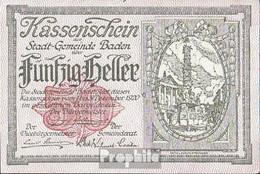 Baden Bei Wien Notgeld Der Stadtgemeinde Baden Bankfrisch 1920 50 Heller - Autriche