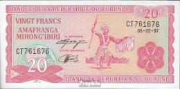 Burundi Pick-Nr: 27d (1997) Bankfrisch 1997 20 Francs - Burundi