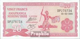 Burundi Pick-Nr: 27d (2005) Bankfrisch 2005 20 Francs - Burundi