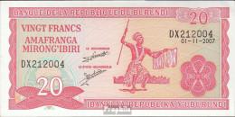 Burundi Pick-Nr: 27d (2007) Bankfrisch 2007 20 Francs - Burundi