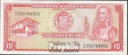 Peru Pick-Nr: 100c (1974) Bankfrisch 1974 10 Soles - Peru