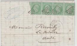 ## FRANCE ## LETTRE DE ROUEN POUR LA REDORTE (AUDE) 29 AVRIL 1871## AFFRANch. BANDE DE 4 N°20 ## - Marcophilie (Lettres)