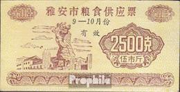 Volksrepublik China Beige Chinesischer Lebensmittelgutschein Bankfrisch 2.500 Jiao - China