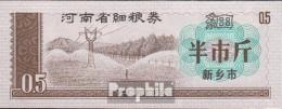 Volksrepublik China Chinesischer Reisgutschein Bankfrisch 1/2 Jin Strommast - China