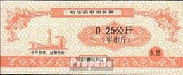 Volksrepublik China Orange Chinesischer Lebensmittelgutschein Bankfrisch 1991 0,25 Jiao - China
