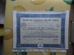 France Societé Des Telephones PICART LEBAS 1934 Coupure De 100 Francs + Cedole - Azioni & Titoli