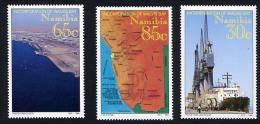 NAMIBIE 1994, RATTACHEMENT... PAQUEBOT, CARTE, VUE AERIENNE, 3 Valeurs, Neufs / Mint. R545 - Namibia (1990- ...)