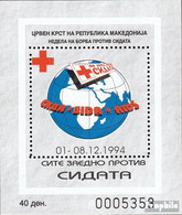 Makedonien Z Block12A (kompl.Ausg.) Zwangszuschlagsmarken Postfrisch 1994 Rotes Kreuz - Macedonia