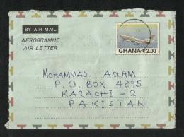 Ghana1985  Air Mail Postal Used Aerogramme Cover Ghana To Pakistan Airplane - Ghana (1957-...)