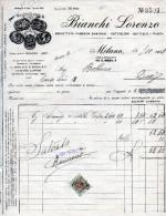 MILANO-14-10-1942-FABBRICA BIANCHI LORENZO- DAMIGIANE-BOTTIGLIONI-TASSA DI BOLLO CENT.30 - Italia