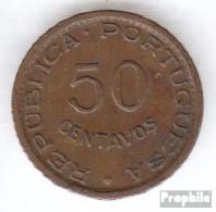 Angola 75 1961 Sehr Schön Bronze Sehr Schön 1961 50 Centavos Wappen - Angola