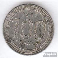 Äquatorial-Afrika-Staaten KM-Nr. : 5 1967 Sehr Schön Nickel Sehr Schön 1967 100 Francs Antilopen - Münzen