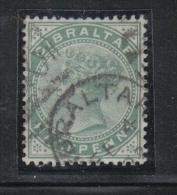 W759 - GIBILTERRA , Vittoria 1/2 Penny  N. 8 Usata  Fil CA - Gibilterra