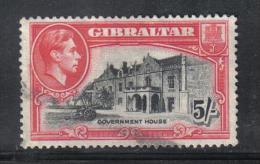 W2375 - GIBILTERRA 1938 , GIORGIO VI : 5 Scellino N. 112A Dentellato 13 1/2  Usato - Gibilterra