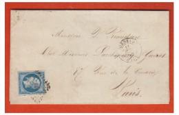 ## FRANCE ## LETTRE DE BORDEAUX POUR PARIS 1854 ## AFFRANch. A 25CMES N°15 ## - Marcophilie (Lettres)