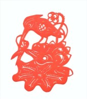 China Paper Cut 3#,bird And Flower,9.5X7.5cm - Chinese Paper Cut