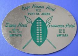HOTEL MOTEL PENSION SAVOY GROSVENOR HERMES UMTATA SOUTH AFRICA TAG DECAL LUGGAGE LABEL ETIQUETTE AUFKLEBER - Hotel Labels