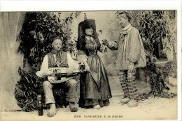 Carte Postale Ancienne Bresse - Invitation à La Danse - Costume Folklorique, Musique, Vielle - Francia