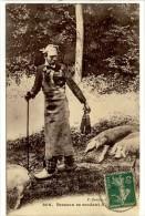 Carte Postale Ancienne Bresse - Bressan Se Rendant à La Foire - Costume Folklorique, Cochons - Autres Communes