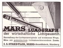 Original Werbung - 1941 - Mars Lumograph , J.S. Staedtler , Bleistiftfabrik In Nürnberg , Bleistift !!! - Schreibgerät