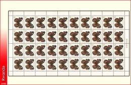 Rwanda 0910** 30c Papillon -MNH- Feuille / Sheet de 40