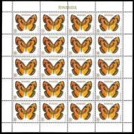 Rwanda 0915** 50F Papillon Sheet / Bogen / Feuille de 20 MNH - Cote 50 E