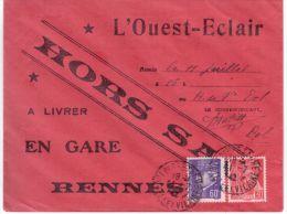 1942- Enveloppe HORS SAC Affr. à 90 C  De L´Ouest-Eclair  ( En Gare De Rennes ) - 1921-1960: Periodo Moderno