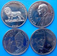 CONGO 2004 4 MONETE DA 1 FRANCO PAPI FDC UNC - Congo (Repubblica 1960)
