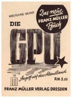 Original Werbung - 1941 - Angriff Auf Das Abendland , GPU , Franz Müller Verlag In Dresden !!! - 5. Zeit Der Weltkriege