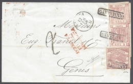 NAPOLI 1858 1Gr ROSA N� 3,5Gr ROSA N� 8 AND 10Gr ROSSA LILLACEO ON LETTER TO GENOVA CERTIFICATE