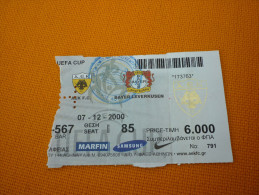 AEK-Bayer Leverkusen UEFA Cup Football Match Ticket Stub 07/12/2000 - Tickets D'entrée
