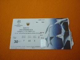 AEK-PSV Eindhoven UEFA Champions League Football Match Ticket Stub 21/10/2003 (hologram) - Match Tickets
