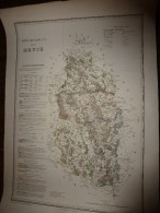 1836 Carte Atlas Départemental De La France (MEUSE) Par Dufour, Chez Basset (Paris) - Geographical Maps