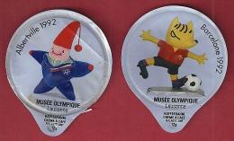 Lot 2 opercules de lait couvercle cr�me � caf� CCC KRD kaffeerahm JO 1992 Barcelona Albertville musee olympique