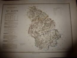 1836 Grde Carte Ancienne Réhaussée Couleurs :par A H Dufour ,  Département De La  Hte MARNE  Avec Notices Hist. Et Stat. - Geographical Maps