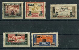 Russia , Tuva , SG 30b,31-4 ; 1932, Stamps Of 1927 Variously Surch With New  Alphabet In Moscow,MH Except 5 Kop (no Gum) - Unused Stamps
