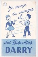 Buvard Biscottes DARRY Je Mange Tu Manges Conjugaison N°1 - Zwieback